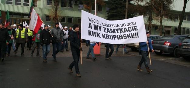 Protest przeciw likwidacji kopalni w grudniu 2016 r.