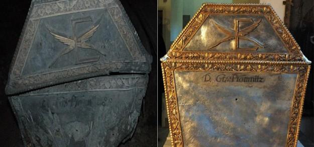Pochodzący z XVIII w. sarkofag Erdmanna I Leopolda Promnitza przed i po renowacji.