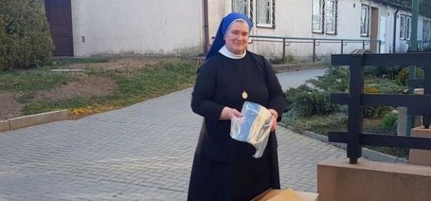 DPS Pielgrzymowice. Siostra Danuta Mryka, dyrektor Domu Pomocy Społecznej w Pielgrzymowicach dziękuje za przekazane środki ochrony osobistej.