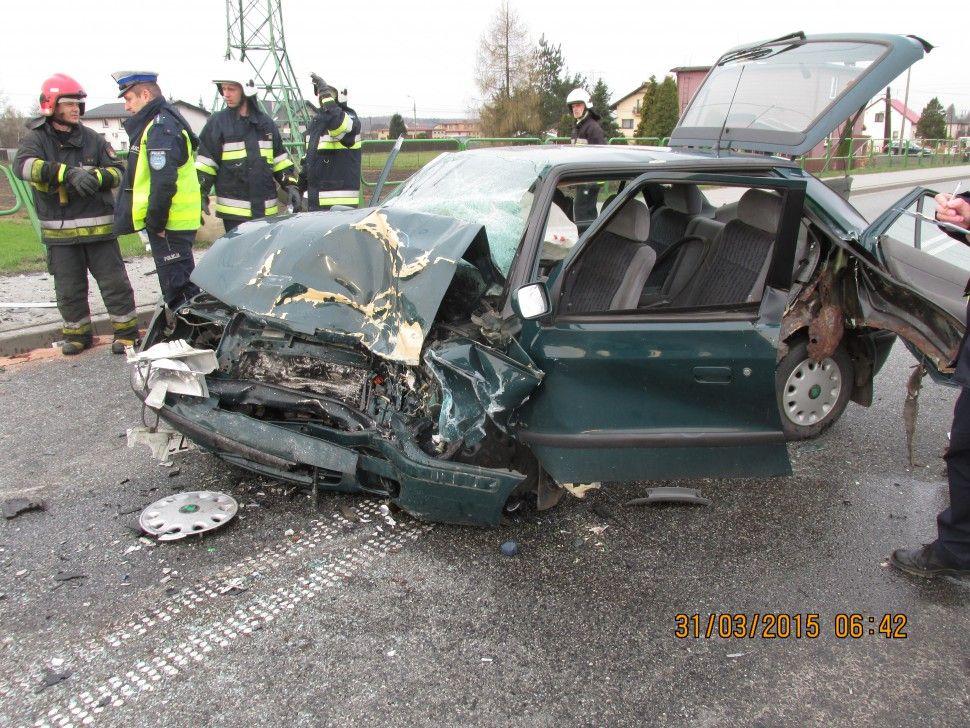 Wypadek w Rudziczce. Dwie osoby zostały ranne