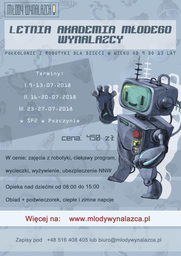 Art. spons. Letnia Akademia Młodego Wynalazcy - robotyka, programowanie dla dzieci!