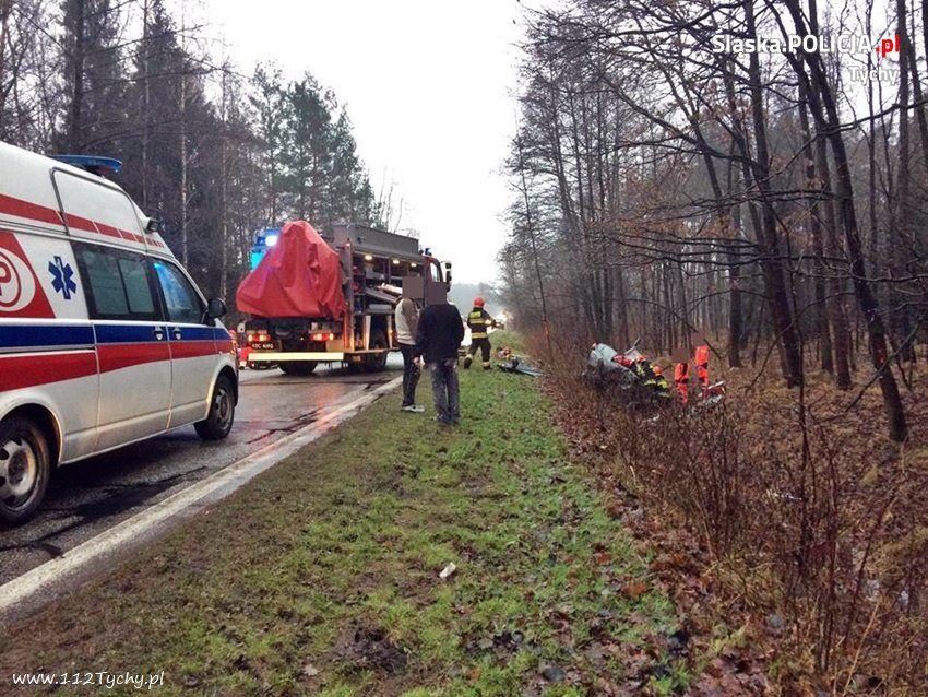 Wypadek na granicy Kobióra i Tychów. Zginęły dwie osoby