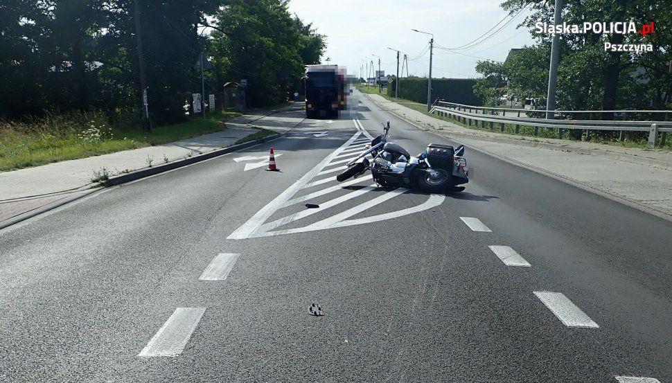 Wypadek z udziałem motocyklisty na DW-933