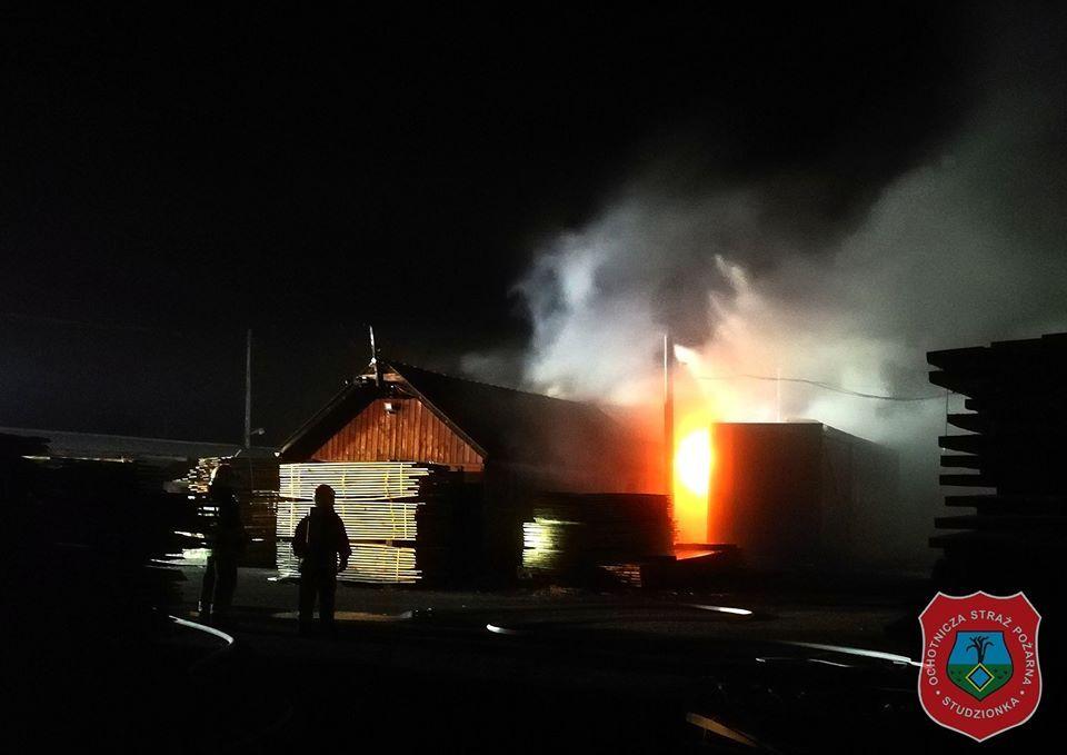 Pożar tartaku w Studzionce