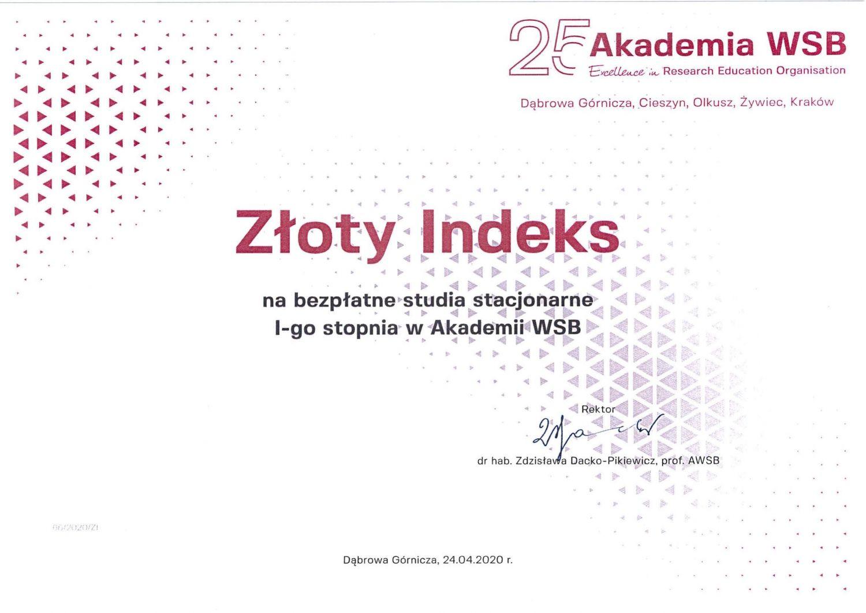 Absolwentka  ZSO w Pawłowicach laureatką Złotego Indeksu Akademii WSB