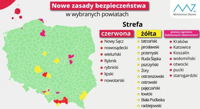 Powiat pszczyński nadal w żółtej strefie