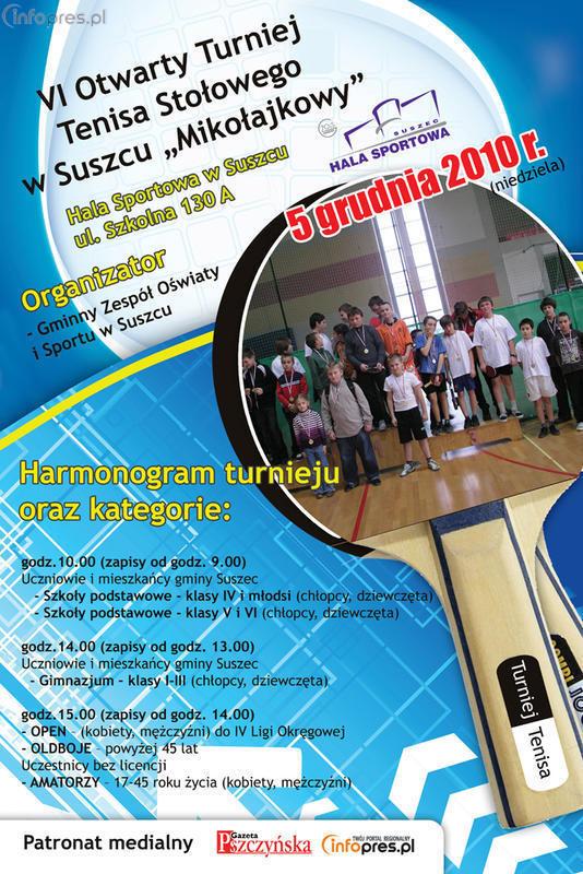VI Otwarty Turniej Tenisa Stołowego w Suszcu